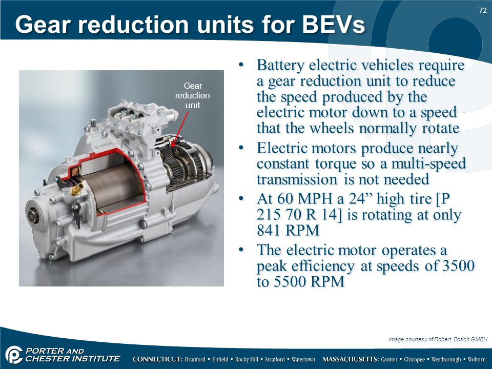 Gear reduction units for BEVs