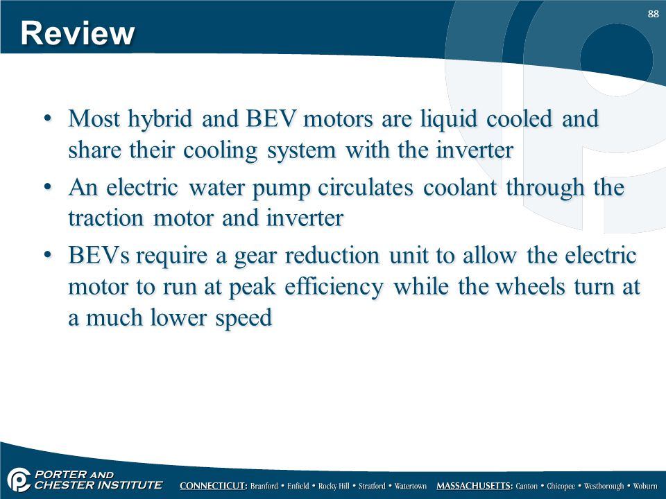 Review Most hybrid and BEV motors are liquid cooled and share their cooling system with the inverter.
