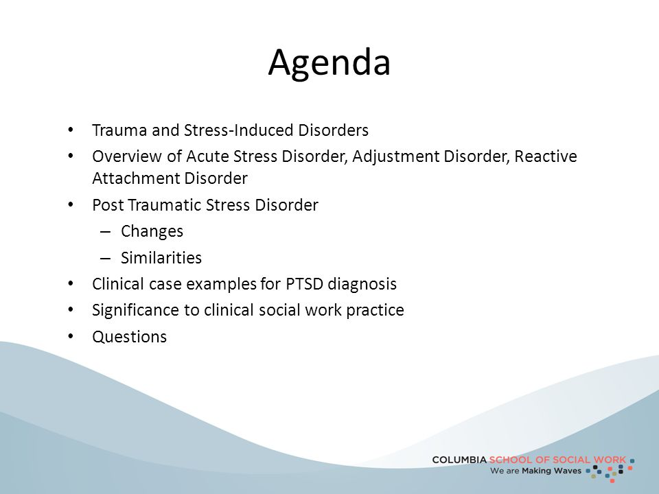 Agenda Trauma and Stress-Induced Disorders