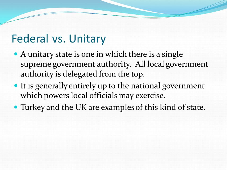 Difference between Federal and Unitary Government
