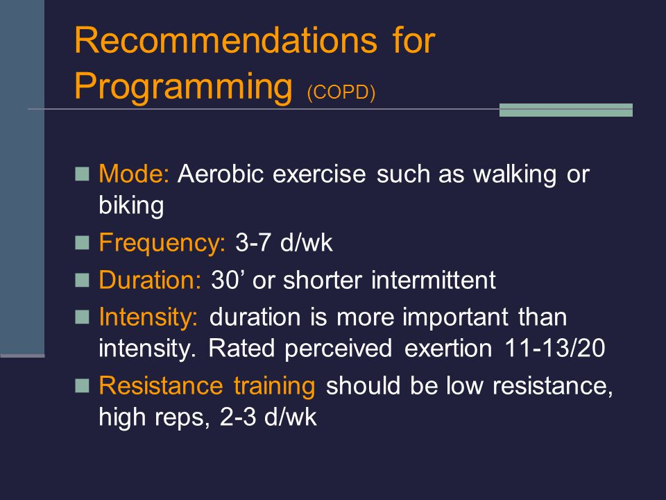 Recommendations for Programming (COPD)