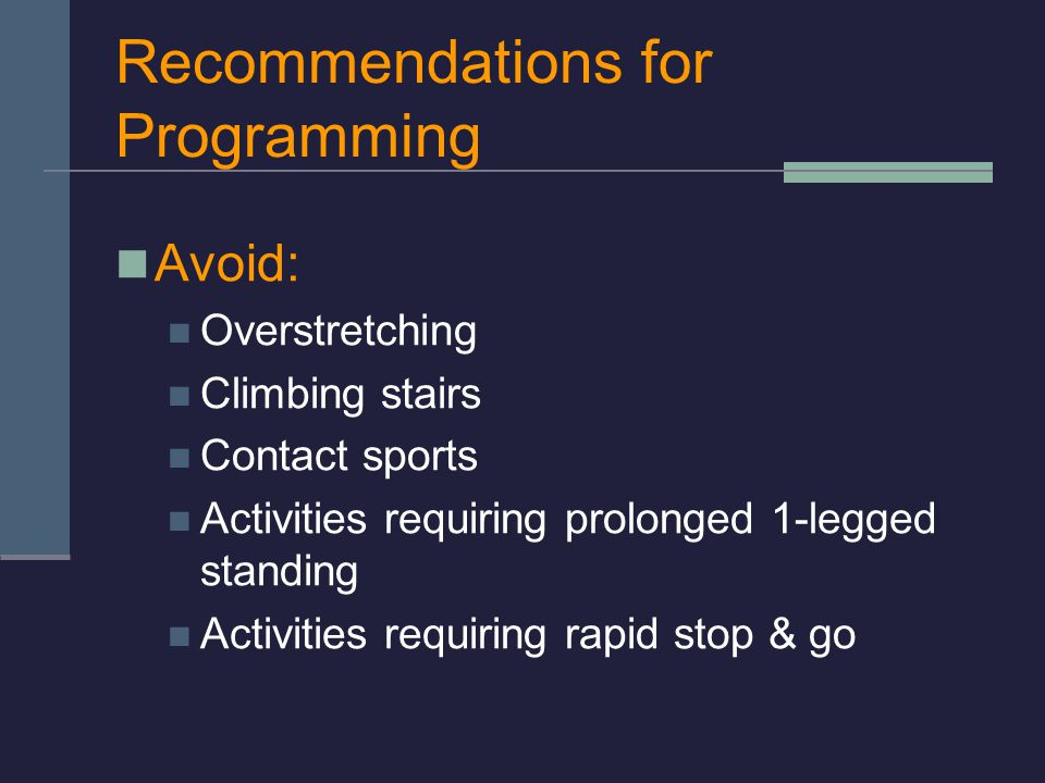Recommendations for Programming