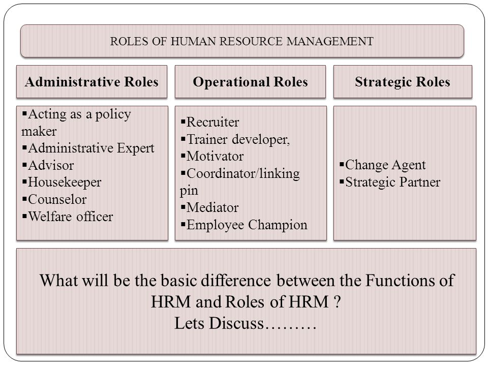 various roles of human resorce management This paper addresses the health care system from a global perspective and the importance of human resources management thus we can see the various roles played by.