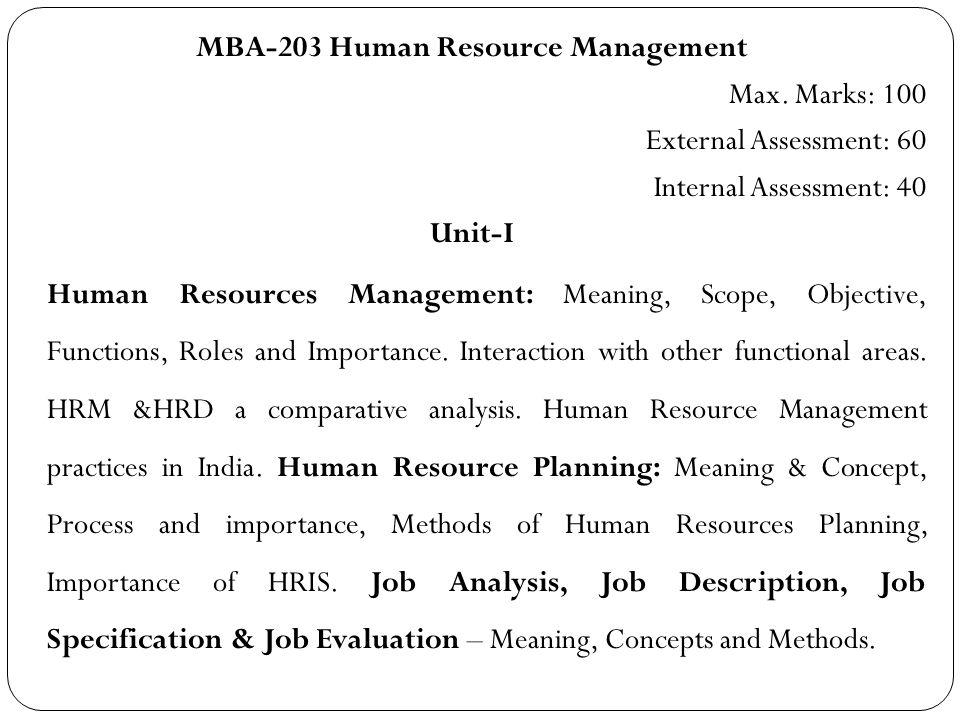 Human Resource Management Syllabus (Mba – 203) - Ppt Download