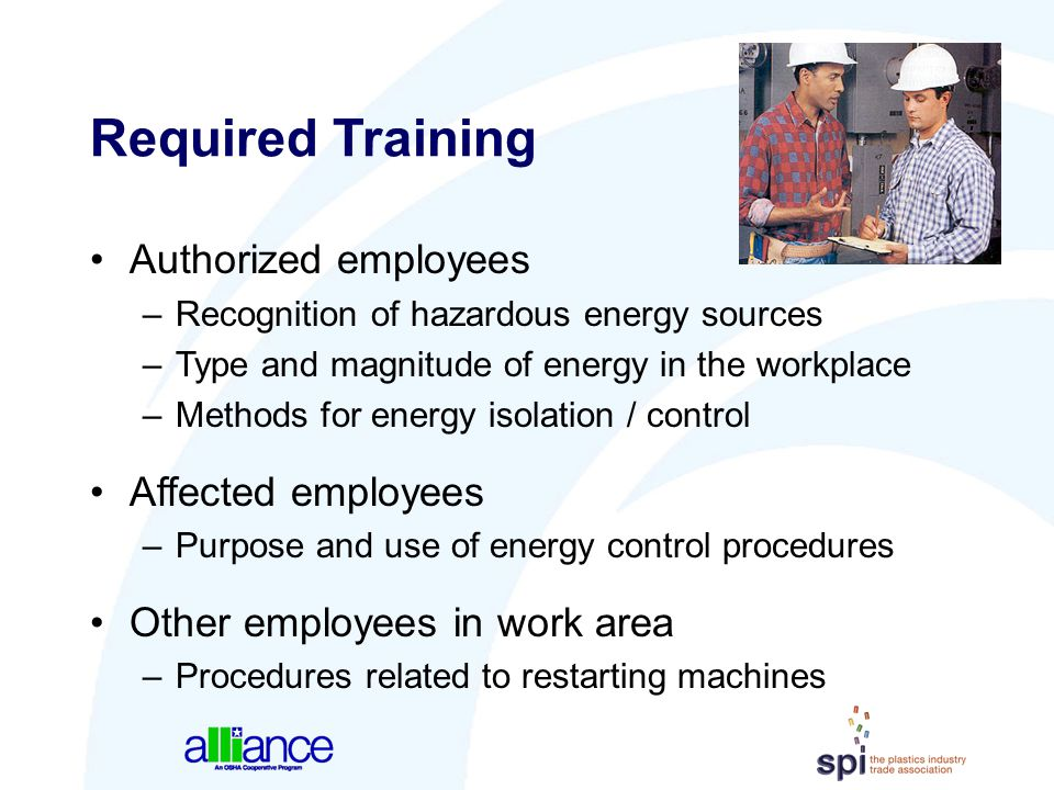 Required Training Authorized employees Affected employees