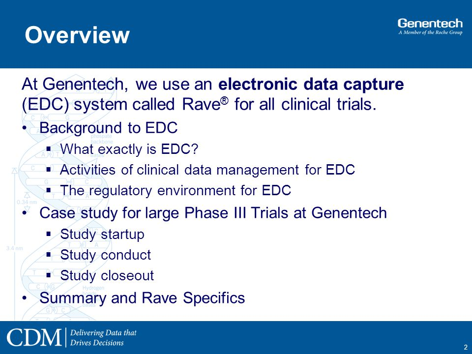 Electronic Data Capture Clinical : Using edc rave to conduct clinical trials at genentech