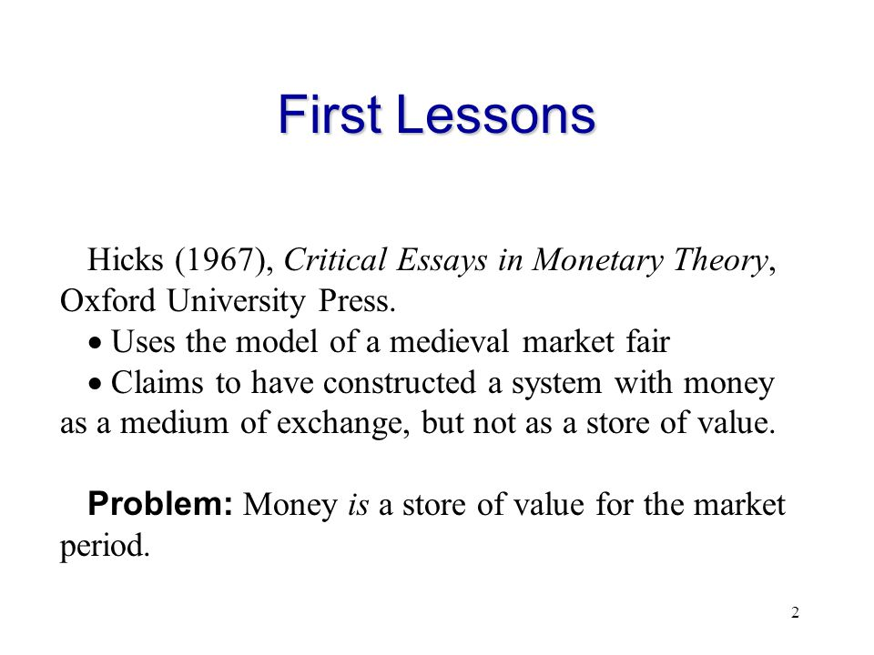 essays in monetary theory robertson Ensayos sobre teoría monetaria / d h abstract traducción de : essays in monetary theory incluye ensayos sobre teoría monetaria / d h robertson on.