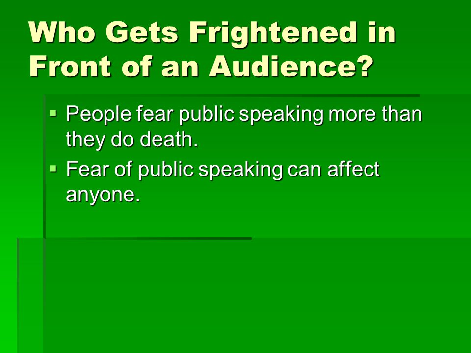factor affecting public speaking anxiety Take away one public speaking fear factor by pre-selecting three people in an audience to focus on during a presentation the infographic outlines the fear of public.