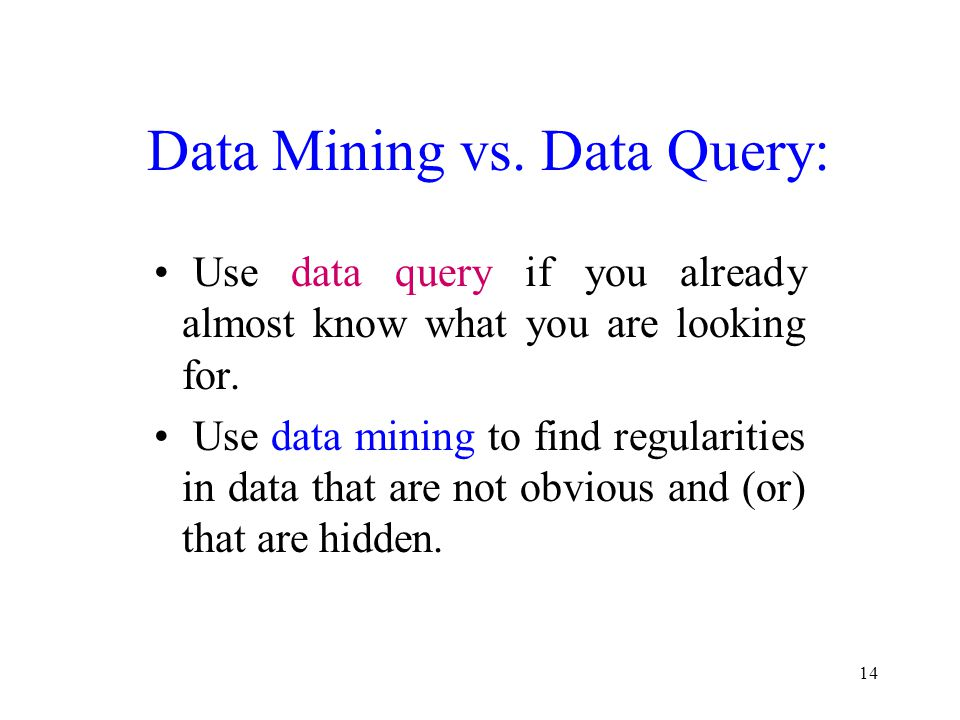 Data Mining vs. Data Query:
