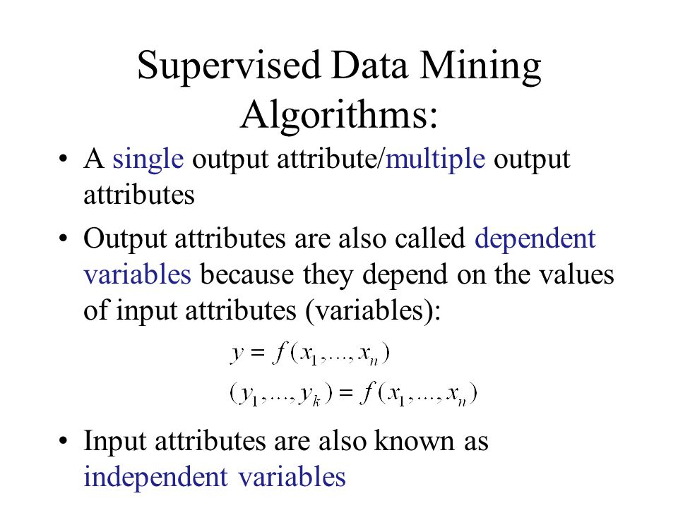 Supervised Data Mining Algorithms:
