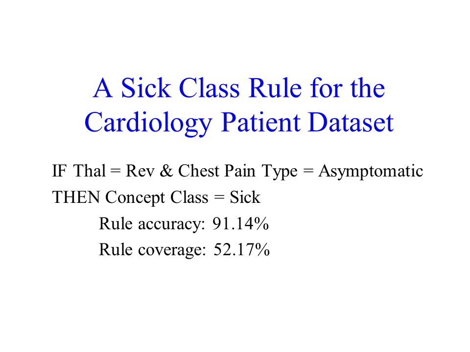 A Sick Class Rule for the Cardiology Patient Dataset