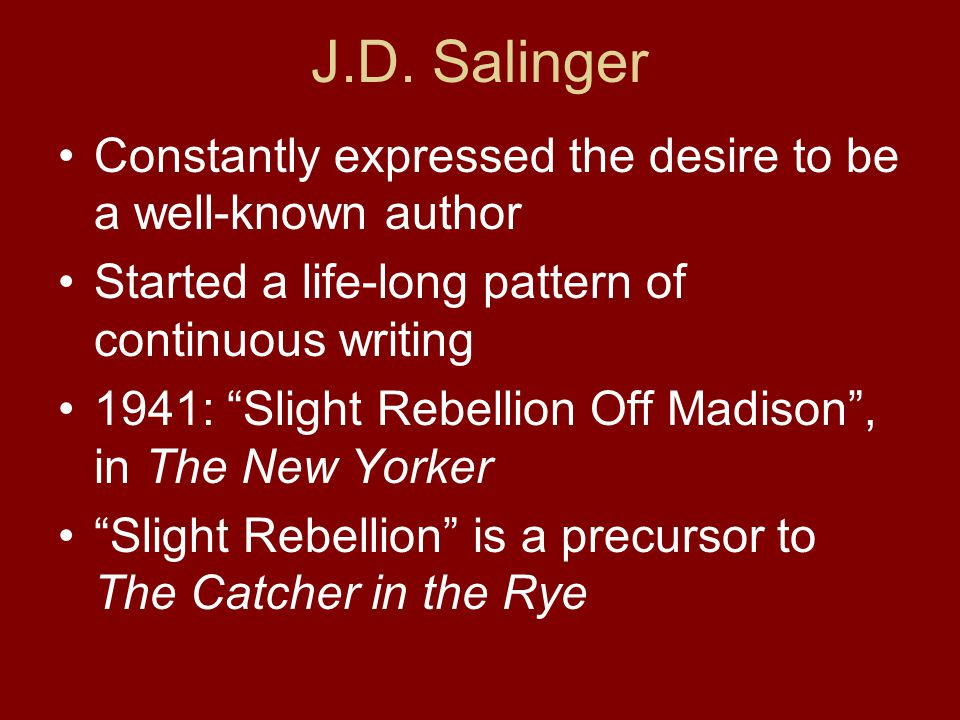 an introduction to the life of jerome david salinger Jerome david salinger nacque a new york il  ian hamilton aveva intenzione di pubblicare in search of j d salinger: a writing life  an introduction.