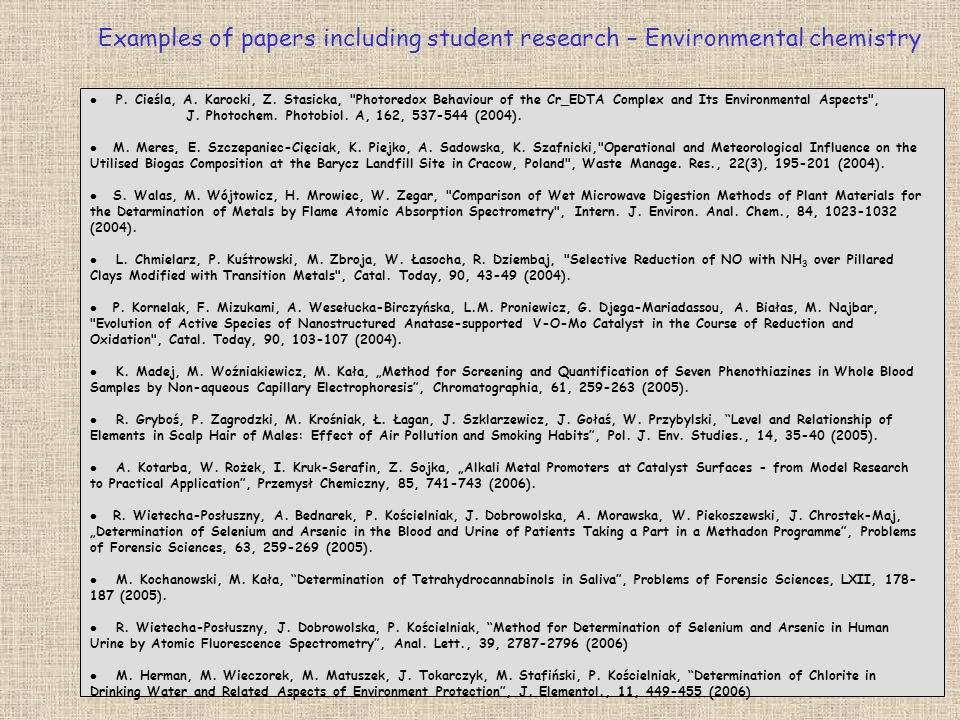 Examples of papers including student research – Environmental chemistry