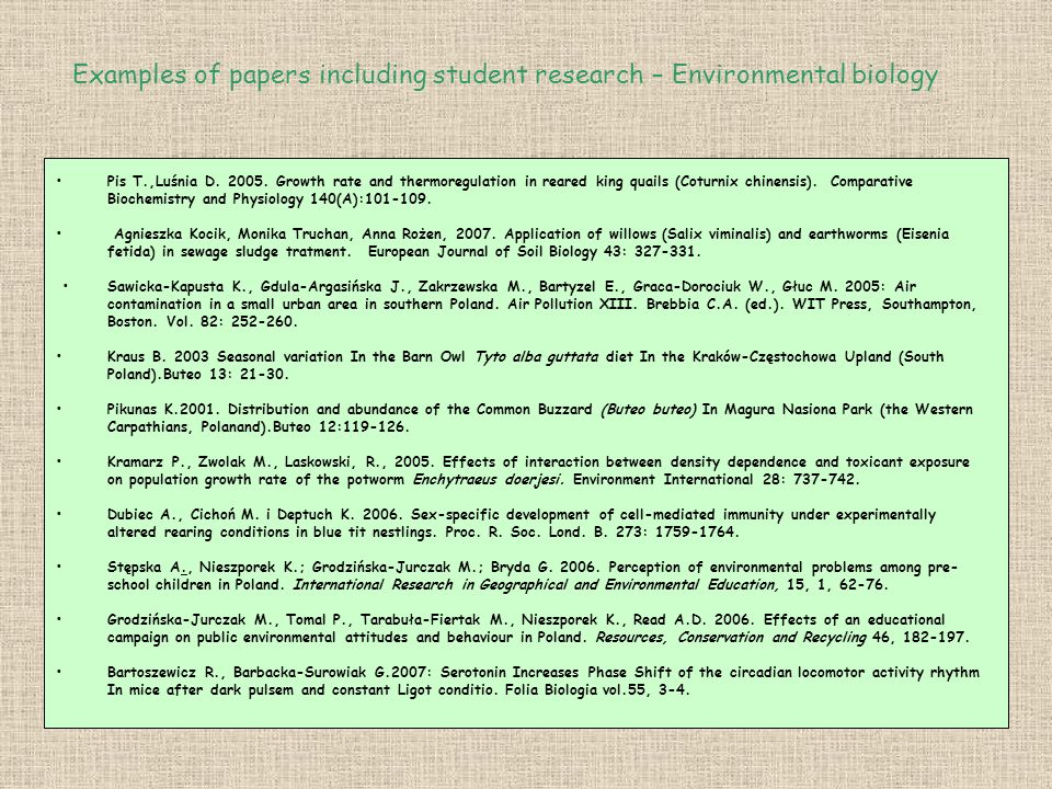 Examples of papers including student research – Environmental biology