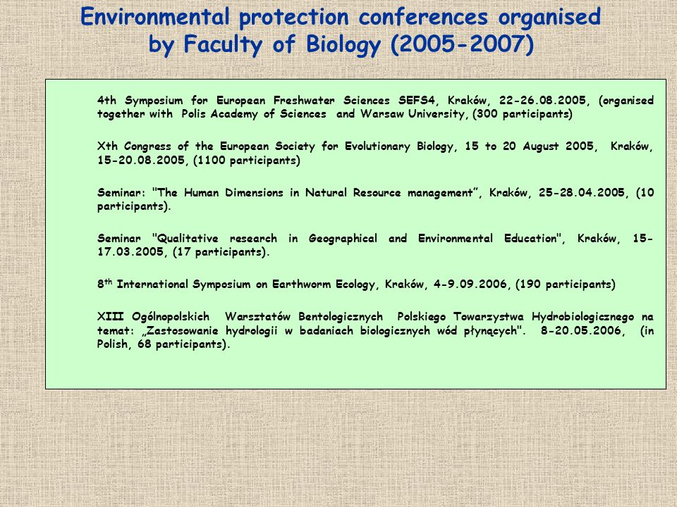 Environmental protection conferences organised by Faculty of Biology (2005-2007)