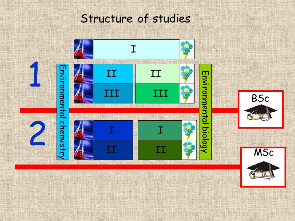 1 2 Structure of studies I II II III III BSc I I II II MSc