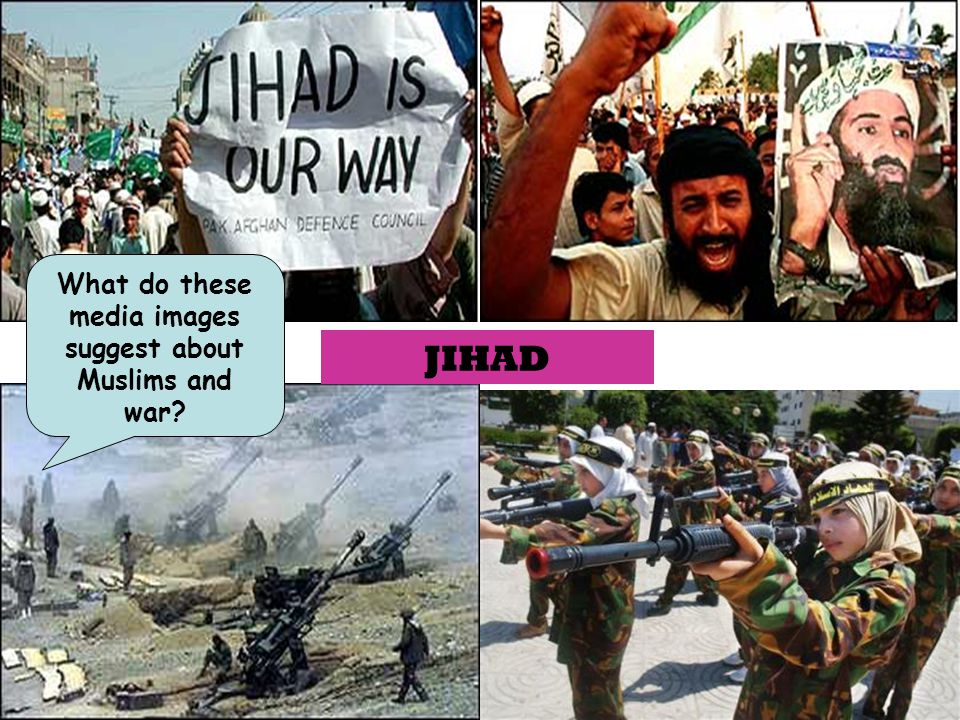 What do these media images suggest about Muslims and war