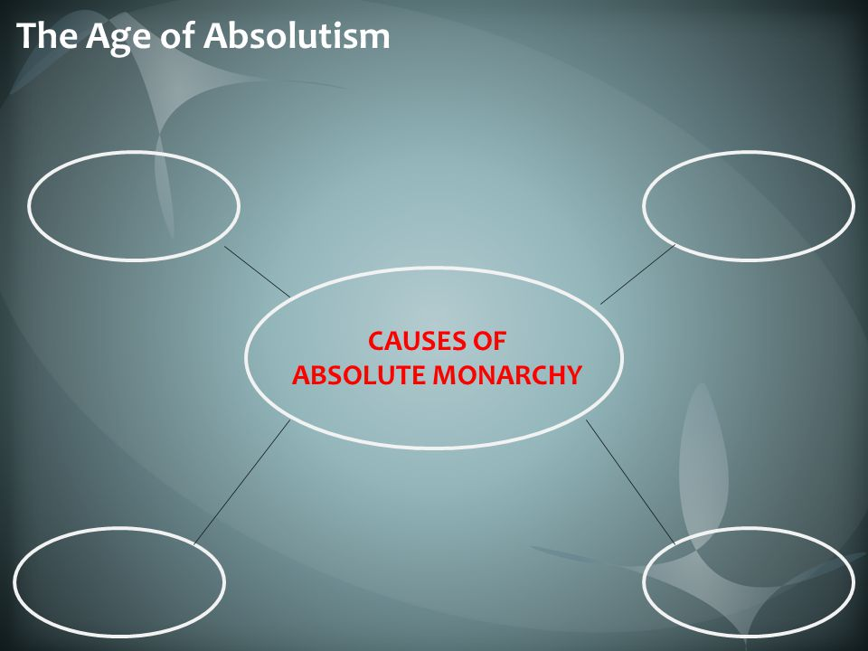 The Age of Absolutism CAUSES OF ABSOLUTE MONARCHY
