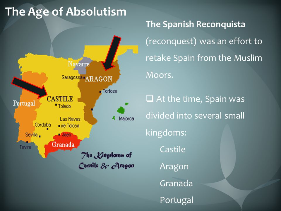 The Age of Absolutism The Spanish Reconquista (reconquest) was an effort to retake Spain from the Muslim Moors.
