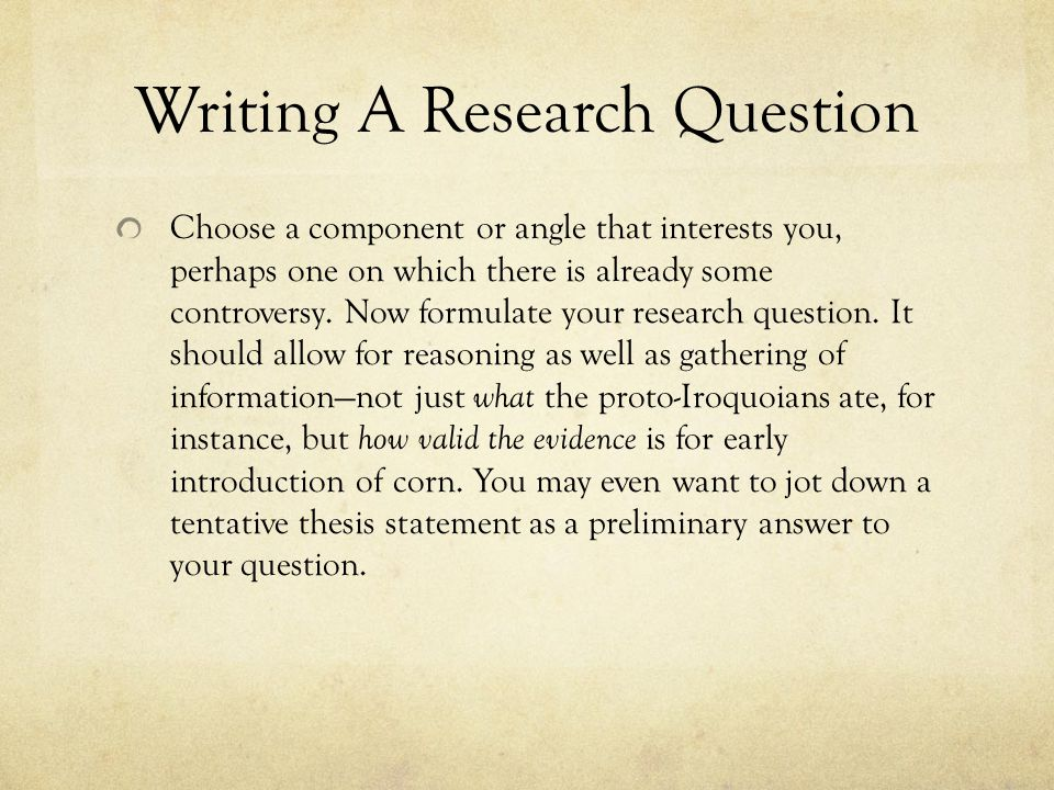 Writing A Research Question
