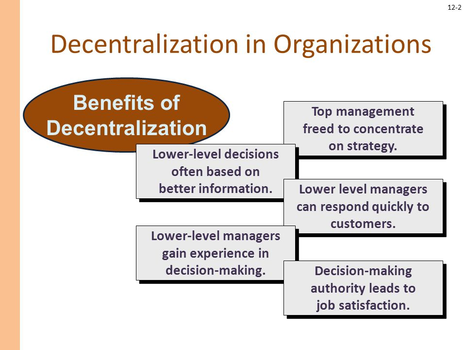 performance measurement in decentralized organization Balanced scorecard: sustaining long-term performance of decentralized this is by making sure that performance measures are well aligned with the strategy of the organization this depends on whether the decision-making authorities are either centralized or decentralized in the organization.