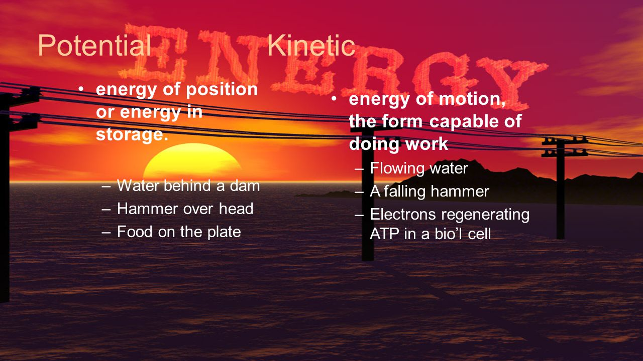 Potential Kinetic energy of position or energy in storage.