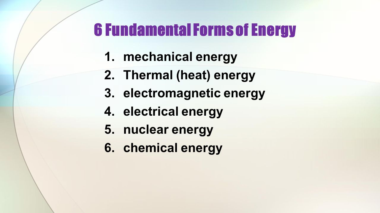 6 Fundamental Forms of Energy