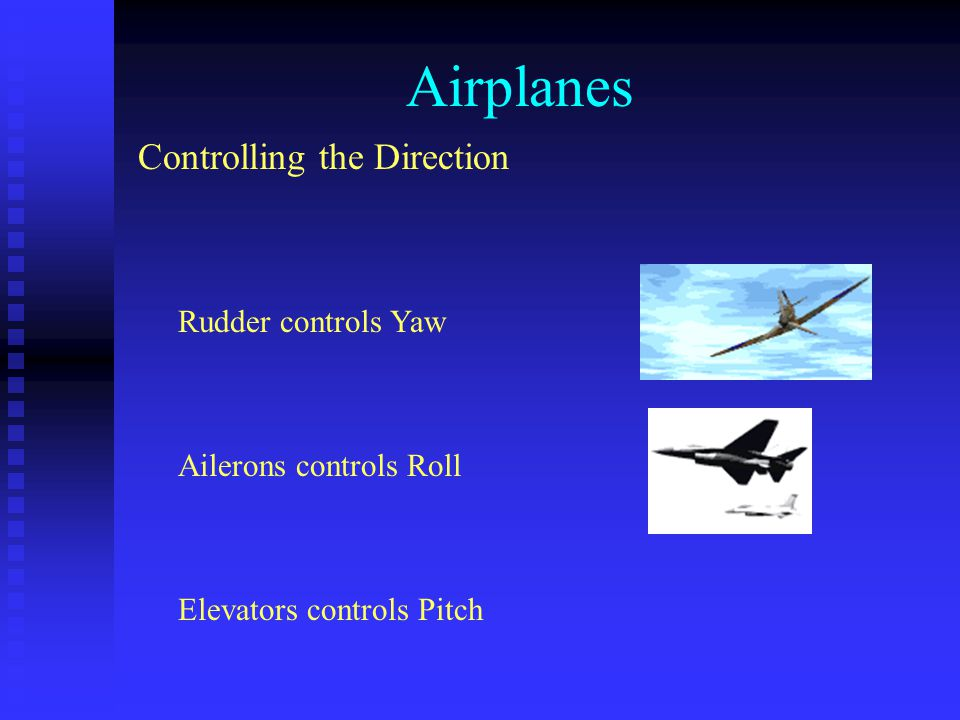 Airplanes Controlling the Direction Rudder controls Yaw