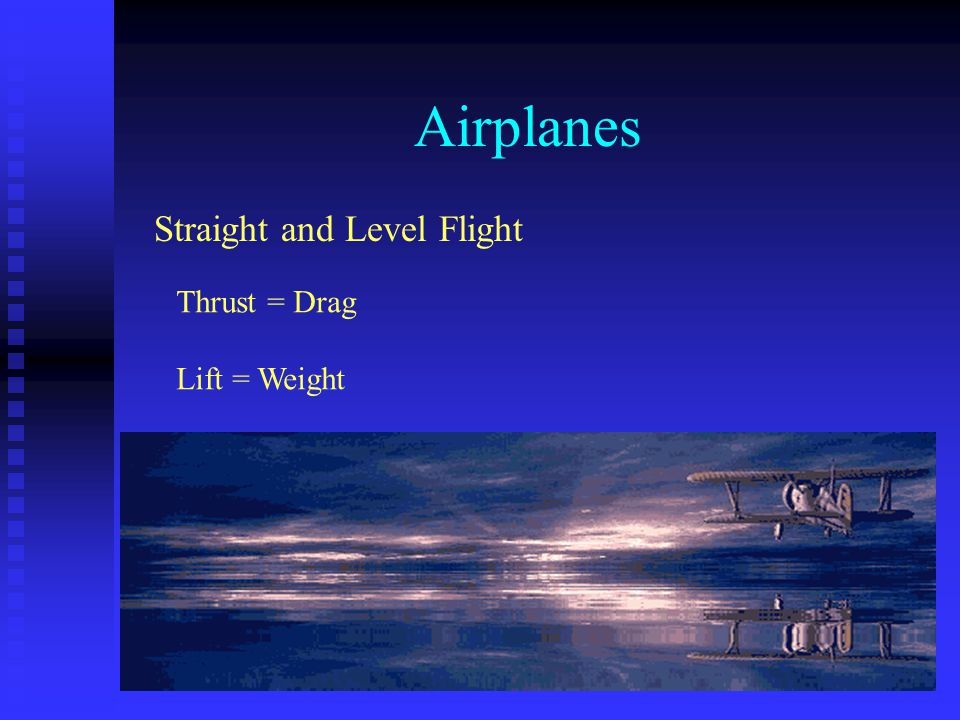 Airplanes Straight and Level Flight Thrust = Drag Lift = Weight