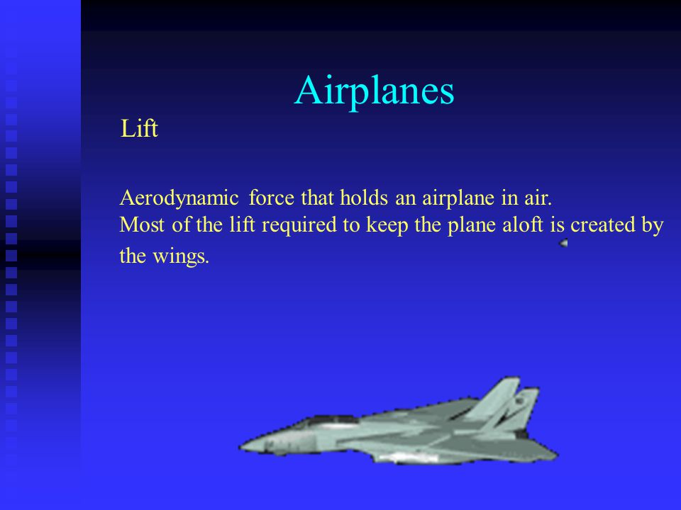 Airplanes Lift Aerodynamic force that holds an airplane in air.