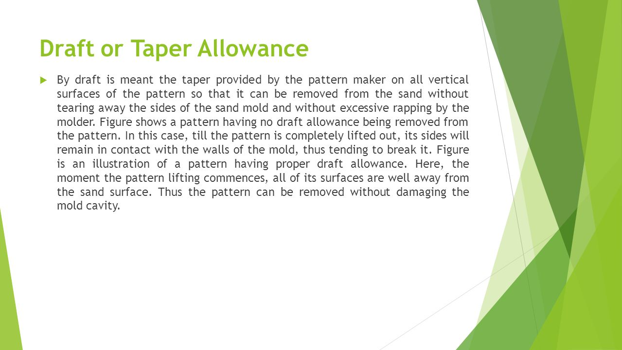 Draft or Taper Allowance
