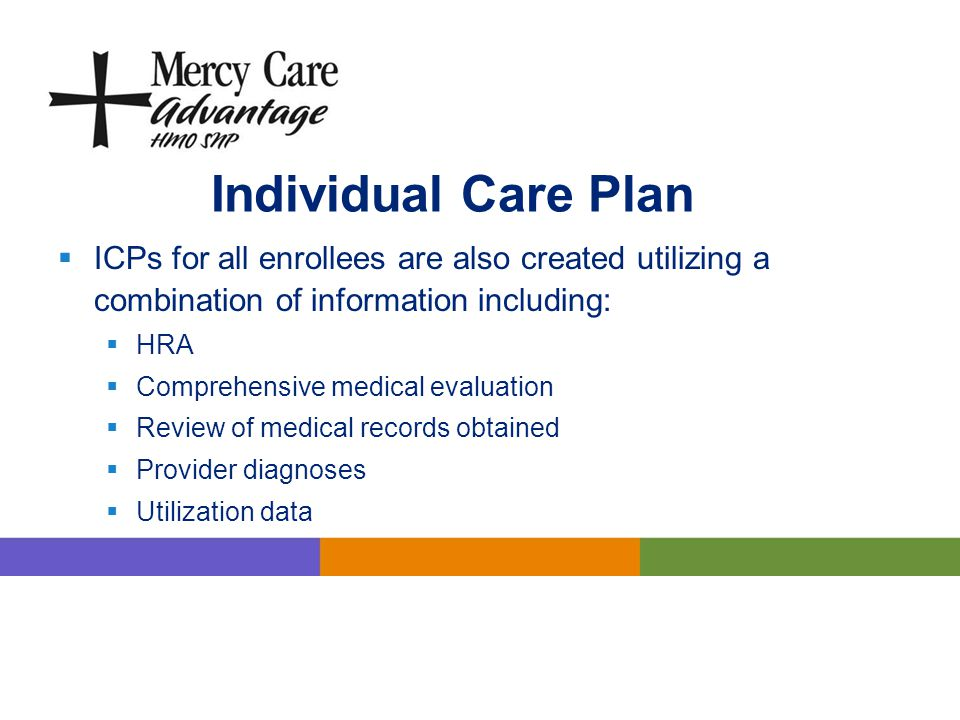 Individual Care Plan ICPs for all enrollees are also created utilizing a combination of information including: