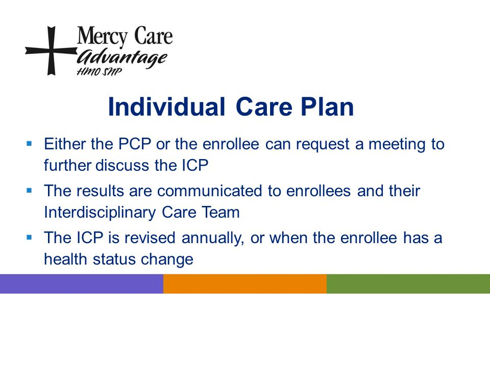 Individual Care Plan Either the PCP or the enrollee can request a meeting to further discuss the ICP.