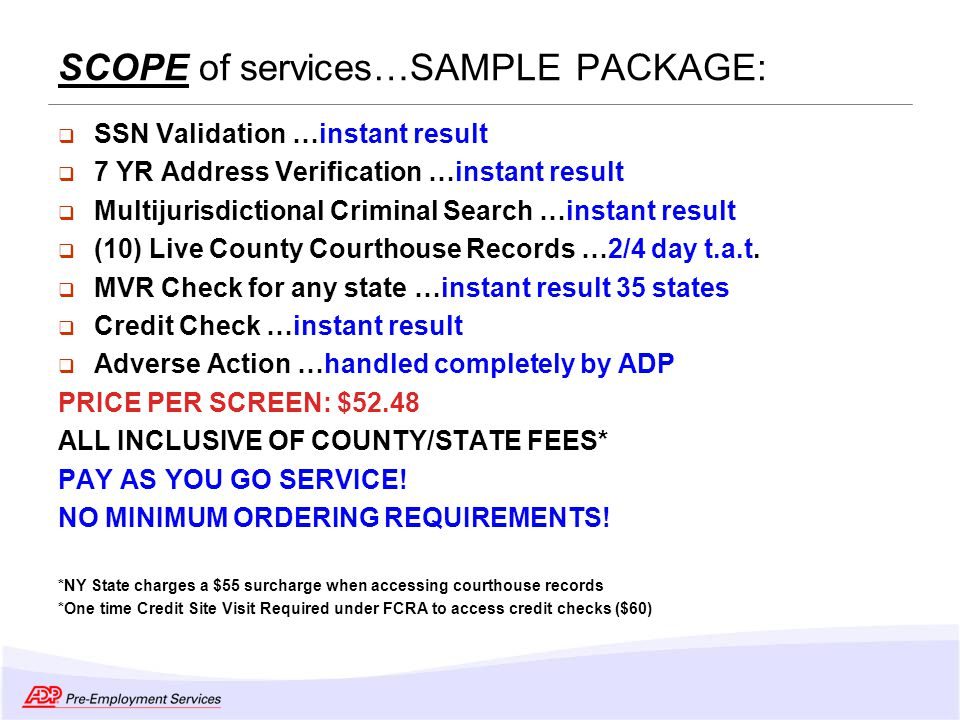 Adp PreEmployment Services Overview  Ppt Video Online Download