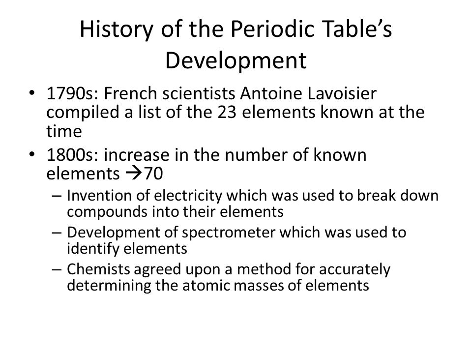 History of periodic table of elements conceptions de la maison chapter ppt video online download history of periodic table of elements urtaz Images