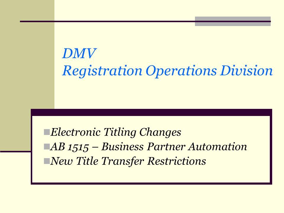DMV Registration Operations Division
