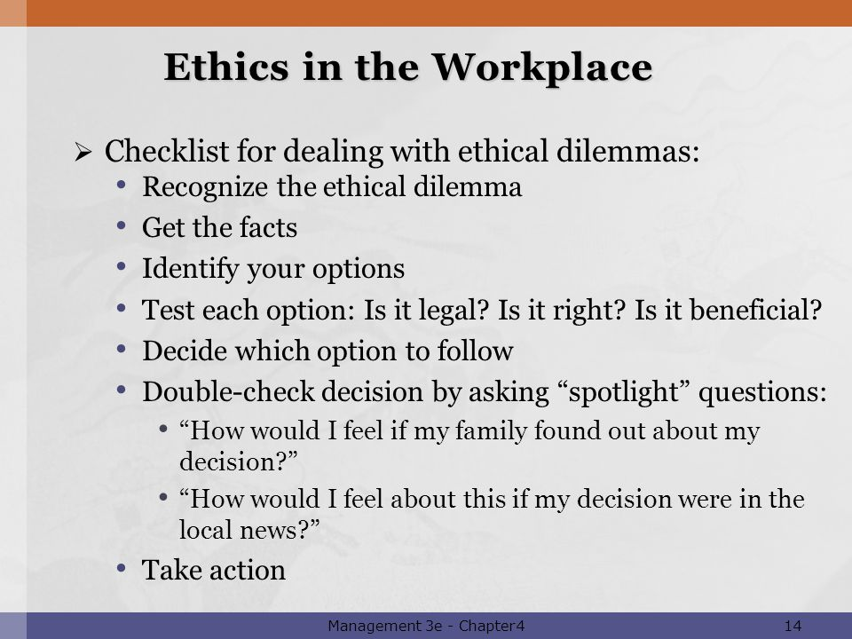 ethical issues in the work place Lapses in workplace ethics do not need to rise to that level to impact the workplace environment you provide for employees, though lapses in workplace ethics can occur because of simple issues such as toilet paper, copy machines, and lunch signup lists in a nationally important workplace ethics case,.