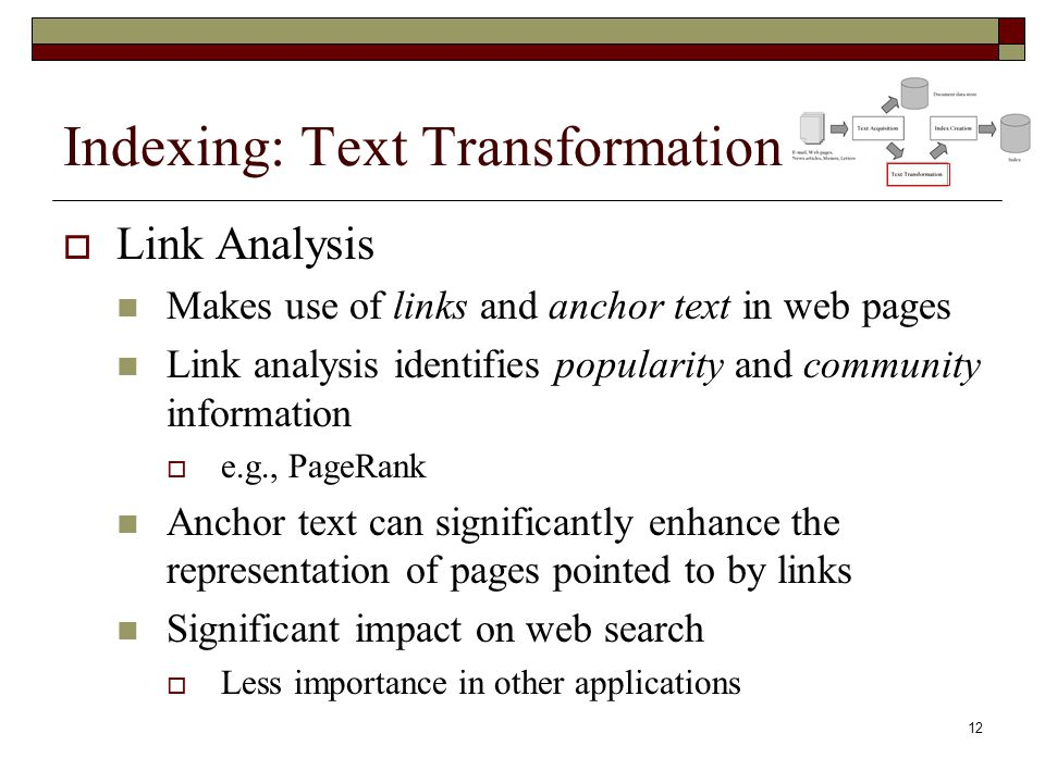 Indexing: Text Transformation