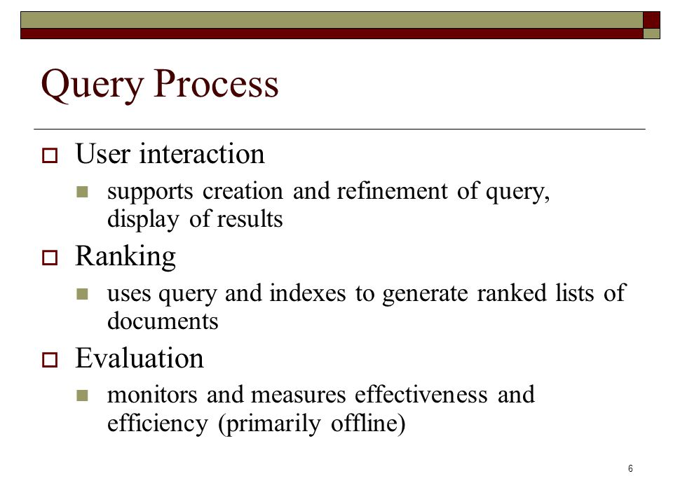Query Process User interaction Ranking Evaluation
