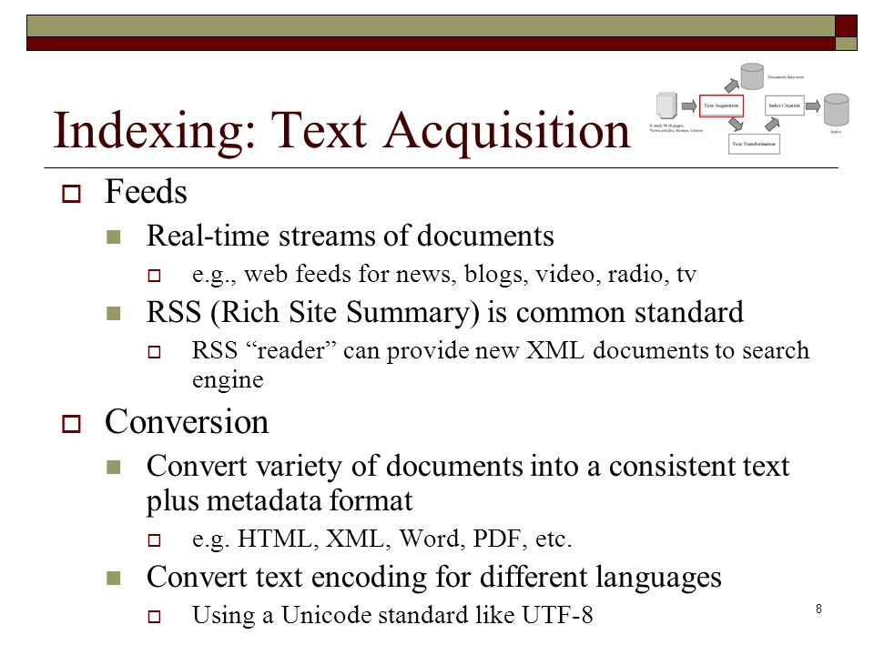 Indexing: Text Acquisition