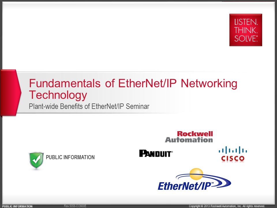 Fundamentals of EtherNet/IP Networking Technology