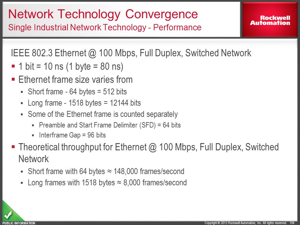 Network Technology Convergence Single Industrial Network Technology - Performance