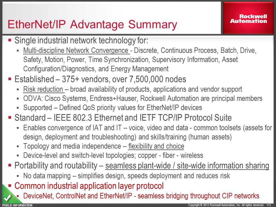 EtherNet/IP Advantage Summary