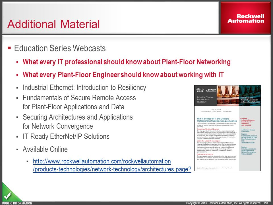 Additional Material Education Series Webcasts