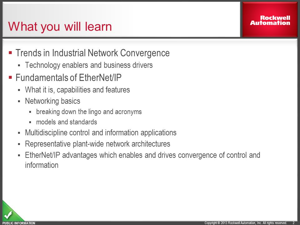 What you will learn Trends in Industrial Network Convergence