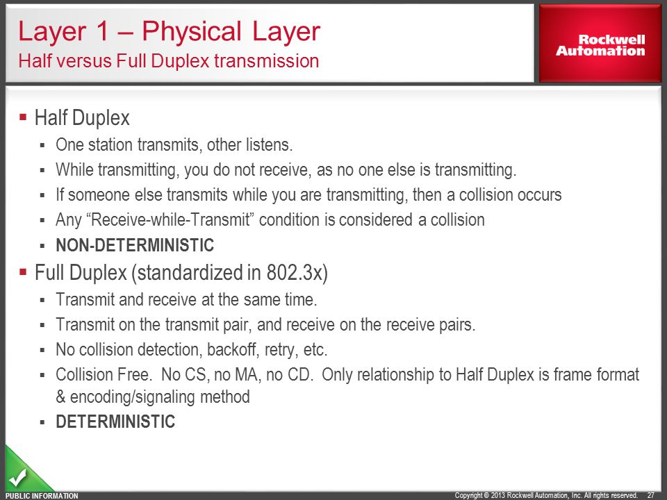 Layer 1 – Physical Layer Half versus Full Duplex transmission