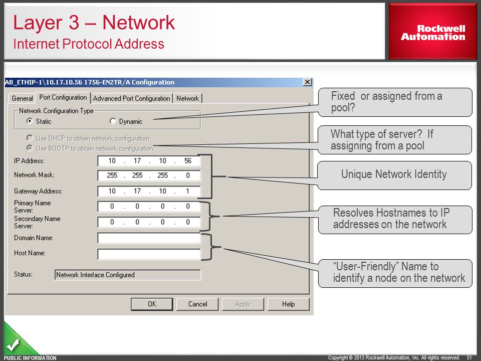 Layer 3 – Network Internet Protocol Address