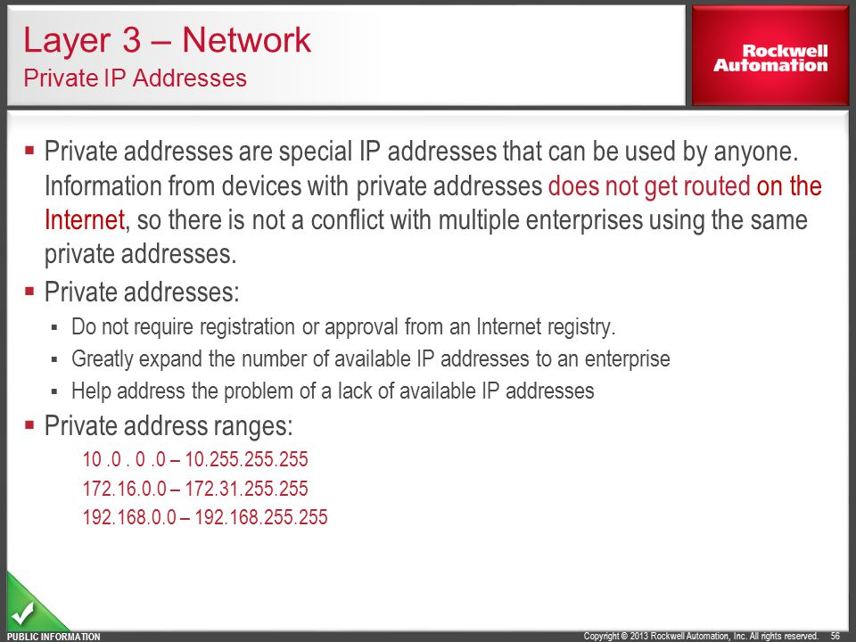 Layer 3 – Network Private IP Addresses