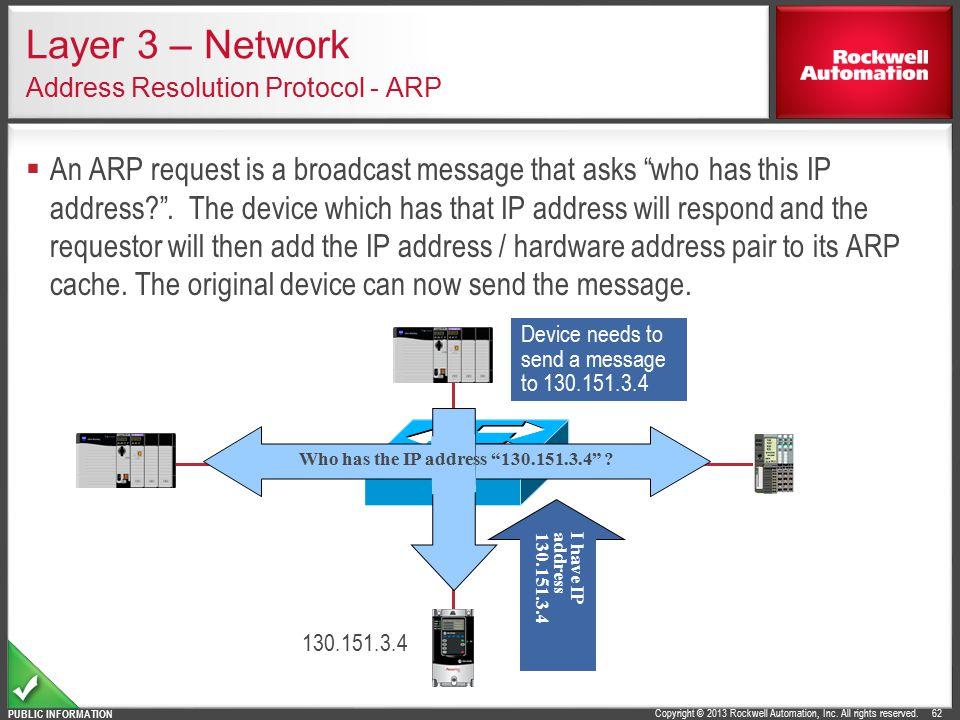 Layer 3 – Network Address Resolution Protocol - ARP