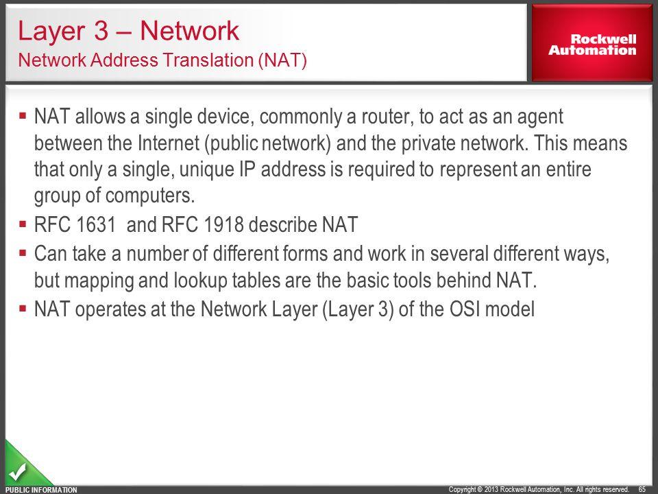 Layer 3 – Network Network Address Translation (NAT)